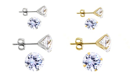 0.50 CTTW–4.0 CTTW Swarovski Elements Stud Earrings in 14K Yellow or White Gold from $22.99–$34.99