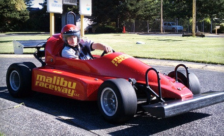 Indy-Style Car Racing and Unlimited Gaming at Malibu Raceway (Up to 57% Off). Four Options Available. 