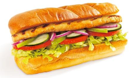 1 ou 2 menus com sanduíche, batatas fritas, bebida, cookie e café desde 6,40 € na Subway
