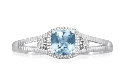 3/4 CTW Cushion-Cut Aquamarine and Diamond Ring in Sterling Silver