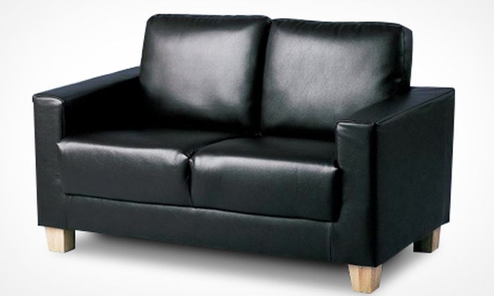 Groupon Goods Global GmbH: Leather-Effect Two-Seater Sofa for £159.98 With Free Delivery (64% Off)