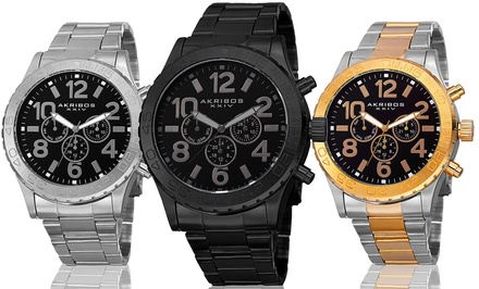Akribos XXIV Men's Swiss Multi-Function Watch with Stainless Steel Band