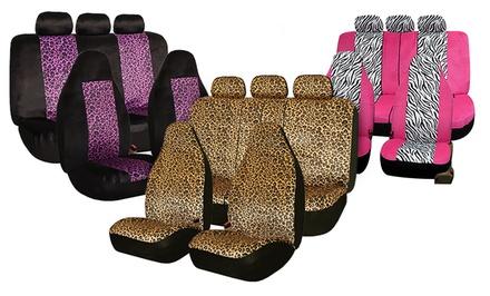 Zebra- or Leopard-Print Car-Seat-Cover Set