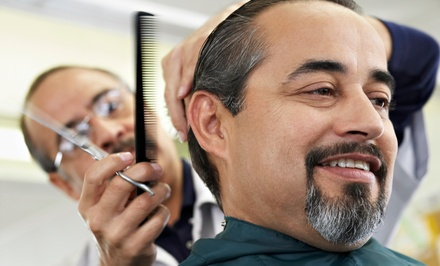 Men's Haircut with Beard Trim or Hot-Towel Shave at Anvil Barber Shop (Up to 50% Off)