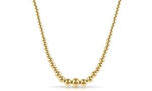 Solid 14k Gold Italian Handmade Bead Necklace