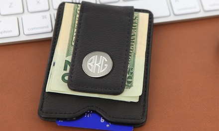 Personalized Black Leather Money Clip from Monogram Online