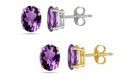 2.0 CTTW Genuine Amethyst Stud Earrings in 14K Yellow or White Gold