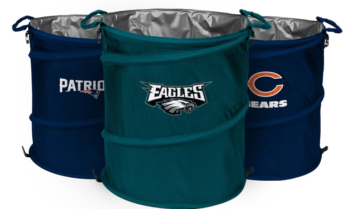 Nfl 3 in 1 collapsible hamper cooler trash can groupon - Collapsible trash can ...