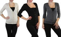 GROUPON: Button-Down V-Neck Cardigan Button-Down V-Neck Cardigan