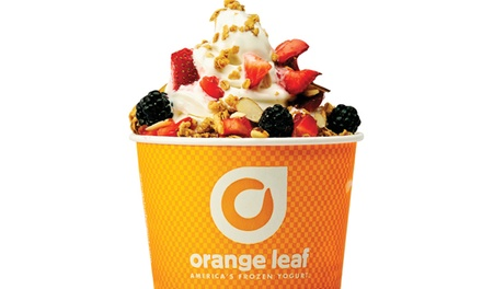 One or Four Groupons, Each Good for $10 Worth of Self-Serve Frozen Yogurt at Orange Leaf (50% Off)