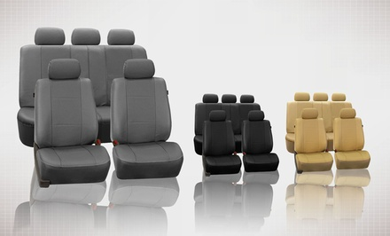 9-Piece Set of Deluxe Faux Leather Seat Covers
