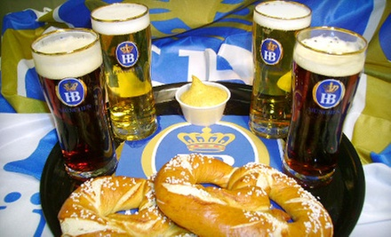 Bier Sampler and Pretzels for Two, or $20 for $40 Worth of German Food for Two at Helga's German Restaurant and Deli