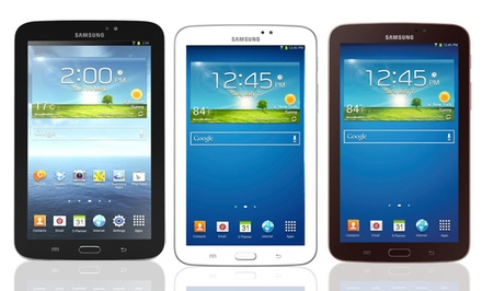 "groupon daily deal - Samsung 7"" Galaxy Tab 3 8GB Android Tablet in Black, Gold Brown, or White (Manufacturer Refurbished). Free Returns."