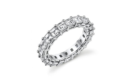 5.00 CTTW Asscher-Cut Cubic Zirconia Eternity Band in Sterling Silver