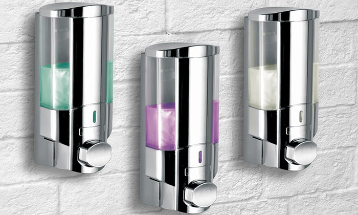 Hotelspa wall mounted soap and shampoo dispensers groupon - Wall mounted shampoo conditioner dispenser ...