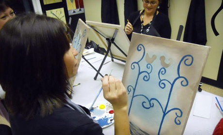 Art class admission for one or two seven locations in the for Wine and paint indianapolis