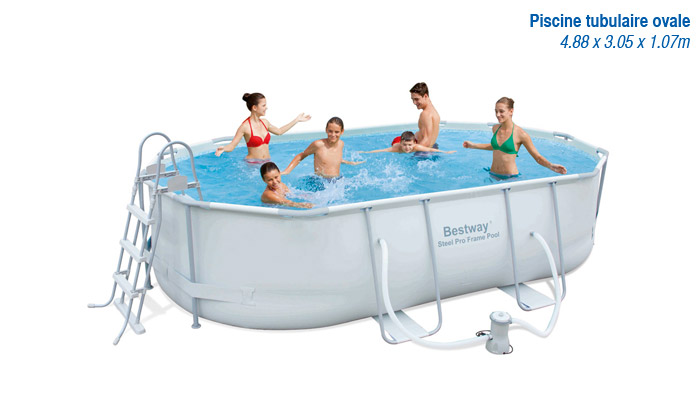 Piscines bestway groupon shopping for Piscine ovale intex 6 10 x 3 66 x1 22m