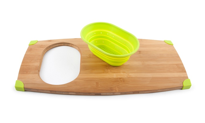 Core bamboo over the sink cutting board with corner grips groupon