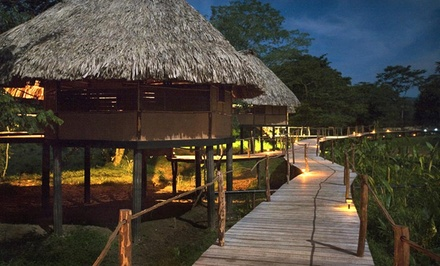 groupon daily deal - 3-, 4-, or 5-Night Stay for Two with Breakfast, Choice of Tour, and Round-Trip Transfers at Cotton Tree Lodge in Belize