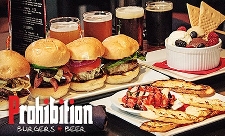 $27 for a Three-Course Burger Meal with Beer at Prohibition Burgers & Beer (Up to a $57 Value)
