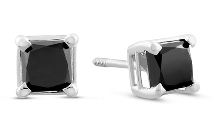 1.00 CTTW Princess Cut Black Diamond Stud Earrings in 14K White Gold