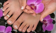 1 or 3 Basic Mani-Pedis or 1 or 3 Shellac Gel Manicures with Basic Pedicures at Fingers Faces &amp; Toes (Up to 61% Off)