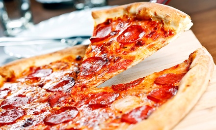 Wood-Fired Pizzas, Burgers, Sandwiches, and Calzones at Woody's Tavern (40% Off). Two Options Available.