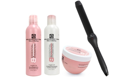 Brilliance New York Curling Iron and Argan Oil Haircare Set