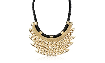 Passiana Leather Rope and Quadruple Spiked Chain Bib Necklace
