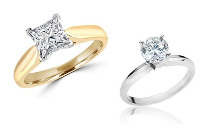 1.50 CTW Certified Round or Princess-Cut Diamond Ring in 14K Gold