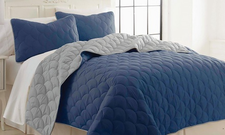 Sanctuary by PCT 3-Piece Reversible Coverlet Set with 2 Shams