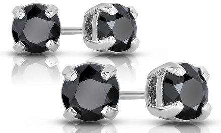 Black Diamond Stud Earrings in Sterling Silver. Multiple Carat Weights Available from $49.99–$349.99.