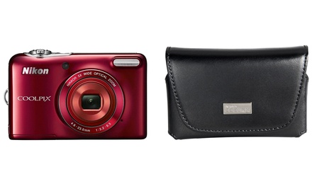 Nikon CoolPix L30 20.1MP Digital Camera with 5x Optical Zoom and Black Leather Case (Manufacturer Refurbished)
