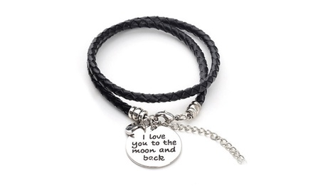 Menpura I Love You to the Moon and Back Charm Wrap Bracelet