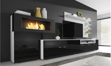 Móvel de sala branco ou preto com biolareira por 499 € (71% de desconto) com envio gratuito