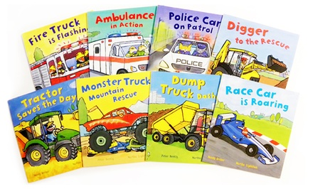 Busy Wheels Children's 8-Book Bundle