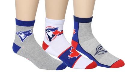 6 Pairs of Men's Toronto Blue Jays Crew or Quarter Socks
