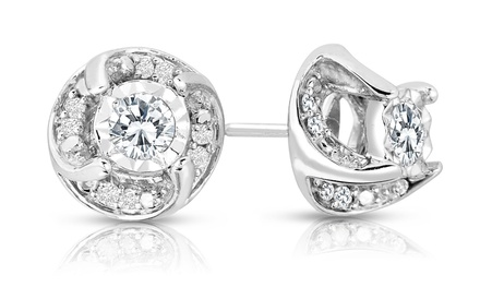 1/2 CTTW Diamond Stud Earrings in Sterling Silver
