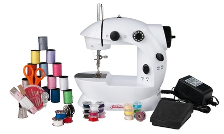 Sunbeam Mini Sewing Machine with Sewing Kit and Adapter