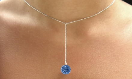Y Ball Necklace with Swarovski Crystal Elements