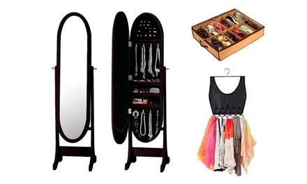 Espelho guarda-joias com organizador de sapatos e écharpes disponível em três cores diferentes por 69,99€