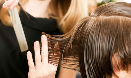 Cut with Condition and Scalp Massage or Half Head of Highlights with Blow-Dry and Glaze (Up to 65% Off)