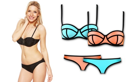 Bra Society Trendy Adjustable Neoprene Bikini Set