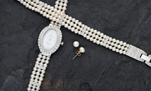 $54.99 for a Croton Freshwater-Pearl Watch, Bracelet, and Earring Set ($490 List Price)