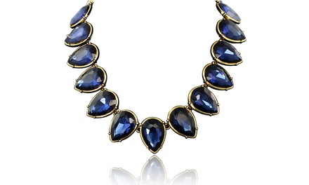 Passiana Pear-Shaped Blue-Crystal Strand Necklace