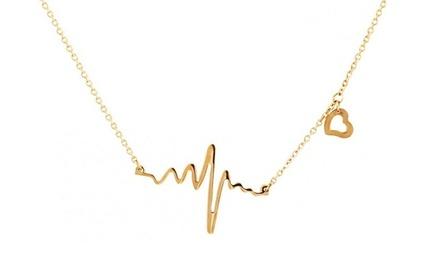 Colar com pendente em forma de batimento cardíaco banhado a prata ou a ouro por 9,99€