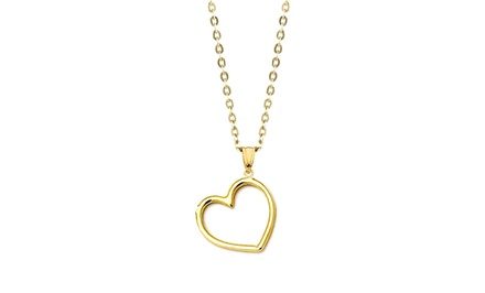 14K Solid Gold Open Heart Pendant with Chain