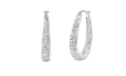 18K White-Gold-Plated Swarovski Elements Hoop Earrings