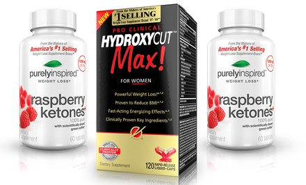 1 120Ct. Bottle of Hydroxycut Max for Women and 2 60Ct. Bottles of Purely Inspired Raspberry Ketones