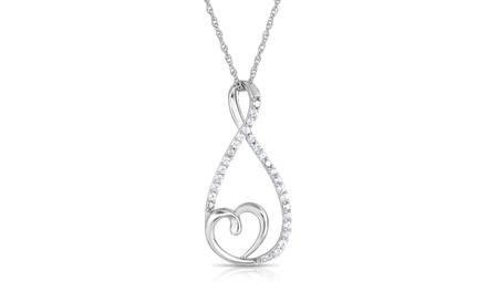 1/4 CTTW Round Diamond Infinity Heart Pendant
